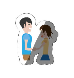 funny couple hand holding romance shadow vector image