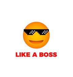Like a boss emoji smile face vector
