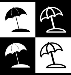 umbrella and sun lounger sign black and vector image vector image