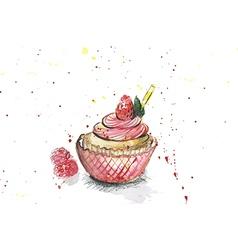 watercolors cupcake vector image