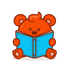 cute little bear read book vector image