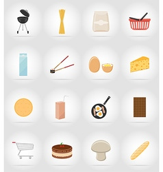 food objects flat icons 17 vector image vector image
