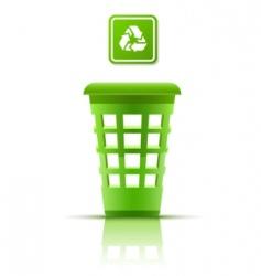 green garbage basket with indicator vector image