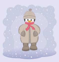 happy penguin in coat hat and scarf vector image vector image