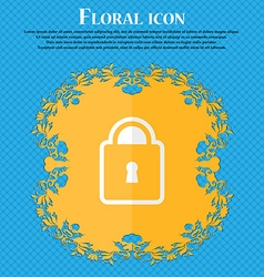 Lock Floral flat design on a blue abstract vector image