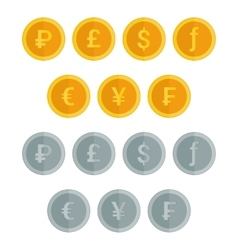 Set of coin icons in flat style vector image