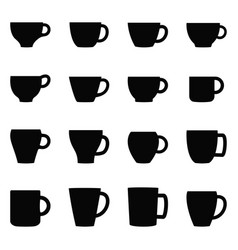 set of cups and mugs vector image vector image