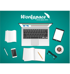 Workspace with laptop phone notebook vector