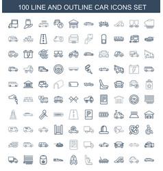 100 car icons vector