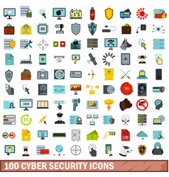 100 cyber security icons set flat style vector image