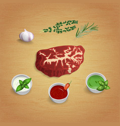 A piece of raw organic marble beef with herbs and vector