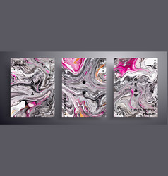 Abstract banner texture set fluid art vector