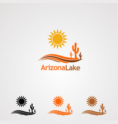 arizona lake logo icon element and template for vector image