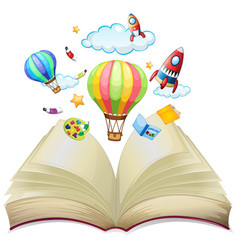 Balloons and rockets in book vector