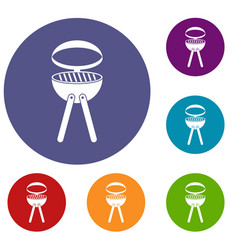 Barbecue grill icons set vector