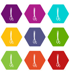 big medical scissors icons set 9 vector image