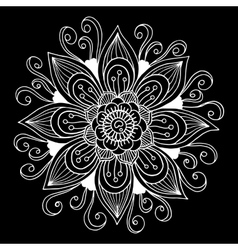 Black and white hand drawn flower vector image