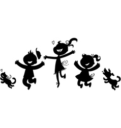Black silhouettes of happy children vector image