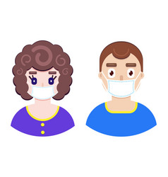 boy and girl in protective medical mask vector image