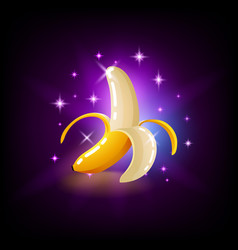 bright yellow banana fruit with sparkles slot vector image