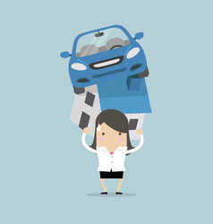 businesswoman with debt carrying a home and car vector image