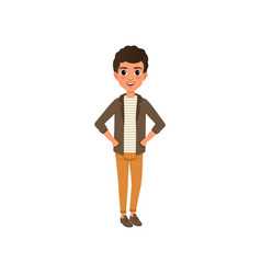 cartoon happy curly-haired kid in brown jacket vector image