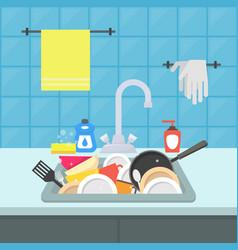 cartoon kitchen sink with different kitchenware vector image