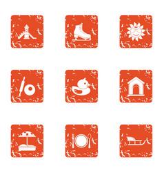 Chute icons set grunge style vector