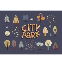 City park set dark vector