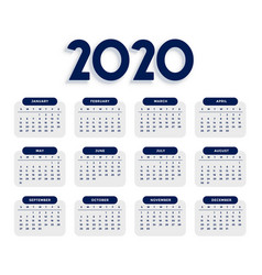 clean elegant 2020 calendar design template vector image