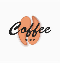 coffee shop bean logo on white background vector image