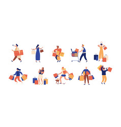collection of people carrying shopping bags with vector image