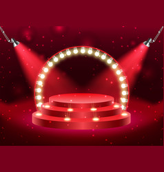 colorful illuminated podium for awards and vector image