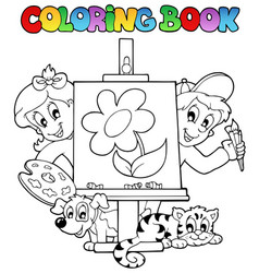 coloring book with kids and canvas vector image