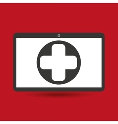 Computer digital healthcare cross vector
