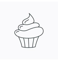Cupcake icon Dessert cake sign vector