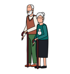 Cute grand parents avatars characters vector
