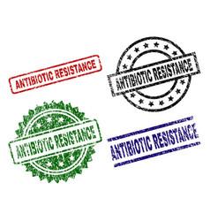Damaged textured antibiotic resistance stamp seals vector