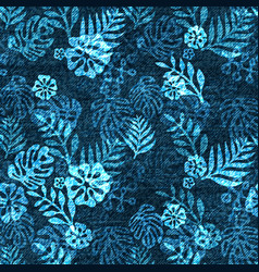 denim exotic leaf seamless pattern faded vector image