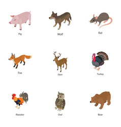 Domesticated animal icons set isometric style vector