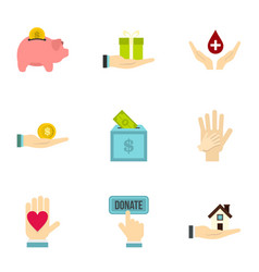 donation icons set flat style vector image