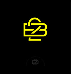 Double b letters 2b monogram consist yellow lines vector