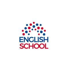 english school logo blue red dot sun or rainbow vector image