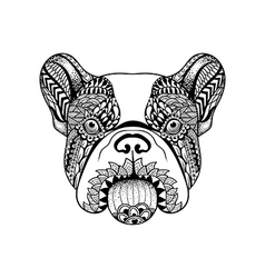 Entangle stylized french bulldog face hand drawn vector