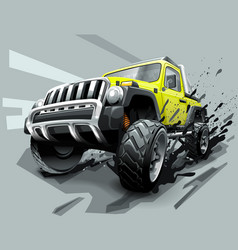 Extreme off road vehicle suv dirt and bad weather vector