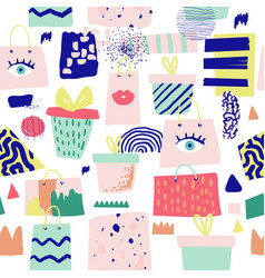 fashion seamless pattern with gift boxes vector image
