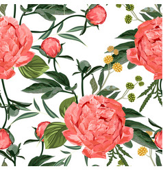 floral seamless pattern with coral orange peonies vector image