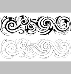 floral swirls with seamless ornament vector image