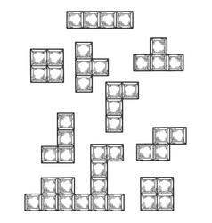 Game puzzle falling blocks sketch engraving vector