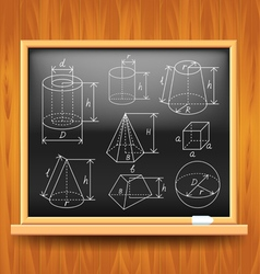 Geometric figures on black school board vector image